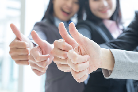 asian group: Group of success business people team show thumb up in office, asian Stock Photo