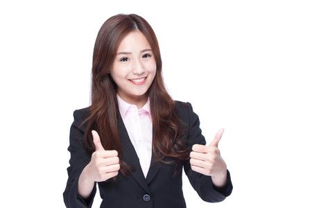 비즈니스 여자 엄지 손가락을 표시이 흰색 배경에 고립, 아시아 아름다움
