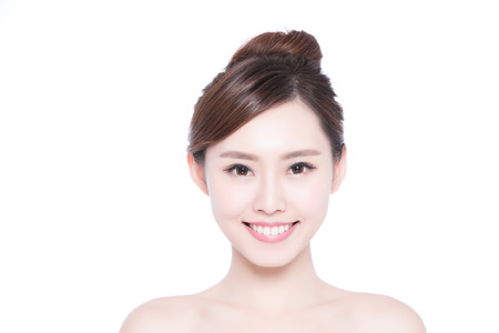beauty skin: Beautiful Skin care woman Face smile to you isolated on white background. asian Beauty Stock Photo