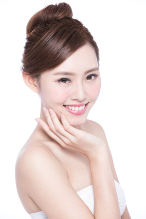 smile face: Beautiful Skin care woman Face smile to you isolated on white background. asian Beauty Stock Photo