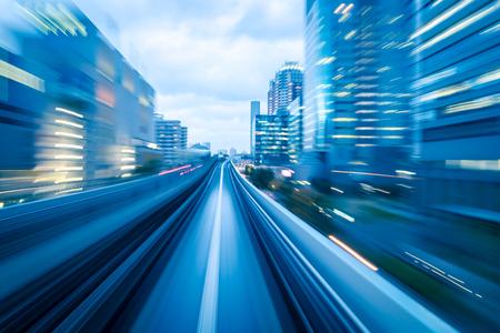 transportes: túnel de metro con el desenfoque de movimiento de una ciudad desde el interior, por su gran diseño Foto de archivo