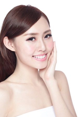 skin care woman: Beauty woman with charming smile to you with health skin, teeth and hair isolated on white background, asian beauty