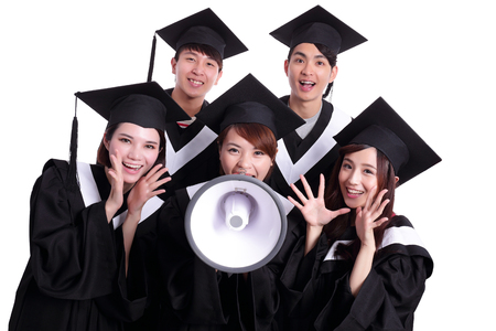 microphones: group of happy graduates student shout by megaphone isolated on white background, asian