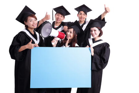 school board: group of happy graduates student show blank billboard isolated on white background, asian Stock Photo
