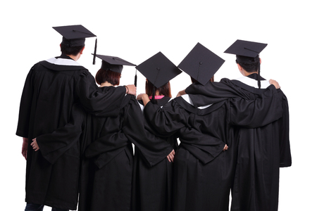 academic robe: Group of graduate students back view isolated on white background