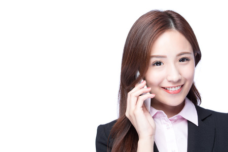 woman on phone: Young Business woman smile talking on the mobile phone isolated on white background, model is a asian beauty