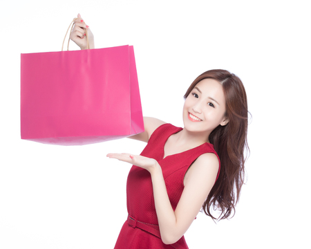 happy shopping: happy shopping young woman show bags - isolated on white background, asian model beauty