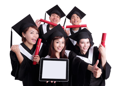 asian group: group of happy graduates student show digital tablet pc with empty screen isolated on white background, asian