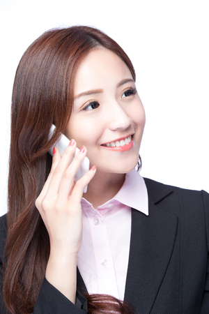 mobile business: Young Business woman smile talking on the mobile phone isolated on white background, model is a asian beauty