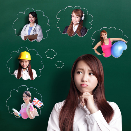choose university: thinking business woman look and think her future and job, asian beauty Stock Photo