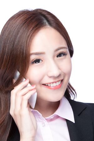 phone professional: Young Business woman smile talking on the mobile phone isolated on white background, model is a asian beauty