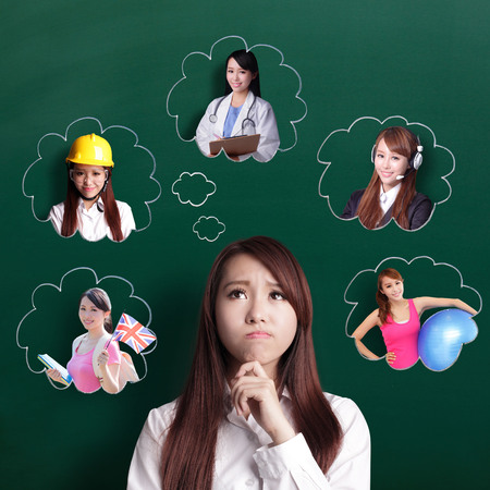 education choice: thinking business woman look and think her future and job, asian beauty Stock Photo