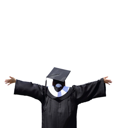 gown: back view of happy graduate student girl hug future and feel carefree look up to copy space, she wear graduation cap and gown ,asian Stock Photo