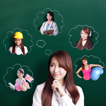 choose university: Smile business woman look and think her future and job, asian beauty