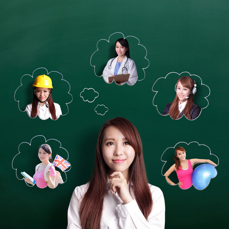 school teachers: Smile business woman look and think her future and job, asian beauty
