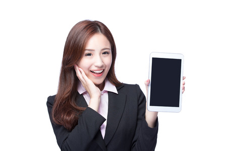 mobile business: Young Business woman smile show digital tablet pc isolated on white background, model is a asian beauty