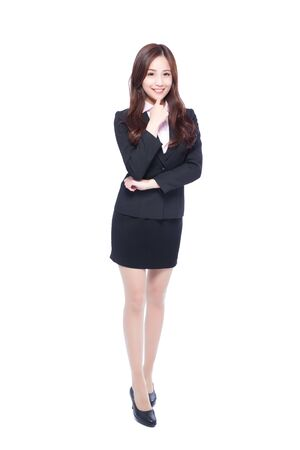 business asia: business woman stands in full length,thinking something,asia beauty Stock Photo