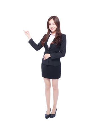 beauty full: business woman stands in full length,pointing something,asia beauty Stock Photo