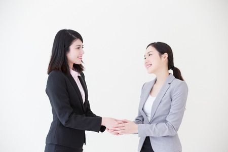 business asia: Group of success business people team shake hands in office with white background, asian