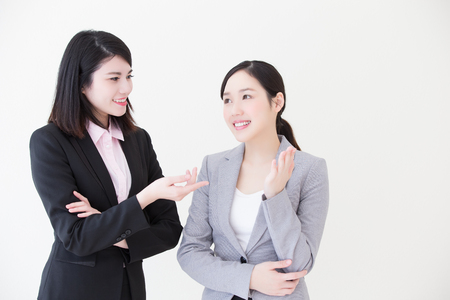 asia people: Group of success business people team meeting in office with white background, asian