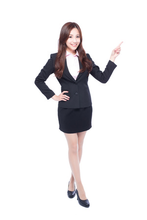full length: business woman stands in full length,pointing something,asia beauty Stock Photo