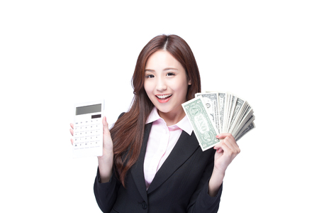 asia women: business woman with the money and computer calculator, asian