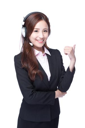 스마일 비즈니스 여자와 헤드폰 쇼 엄지 손가락 최대 격리 된 흰색 배경, 아시아