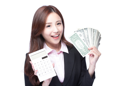 asia people: business woman with the money and computer calculator, asian