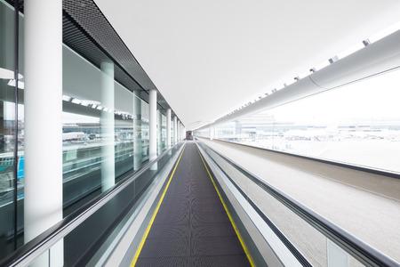 walkway: escalator in airport terminal, shot in japan and asia Stock Photo