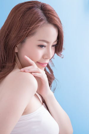asia women: Beauty woman with charming smile to you with isolated blue background, asian