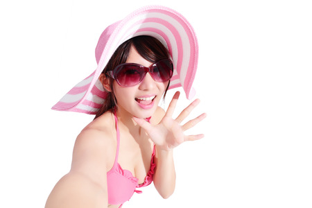 five fingers: beauty woman wear bikini and selfie laugh happily with isolated white background, asian Stock Photo