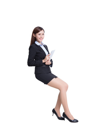 notebook computer: business woman sit with digital tablet pc computer with white background, great for your design or text, asian beauty
