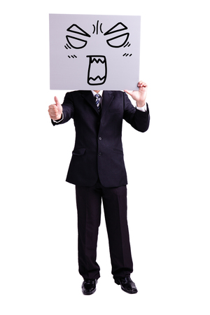 thumbup: businessman holding angry expression billboard and thumb up with isolated white background Stock Photo