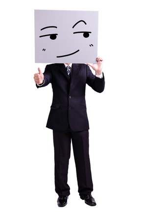 thumbup: businessman holding look somewhere and smile expression billboard and thumb up with isolated white background