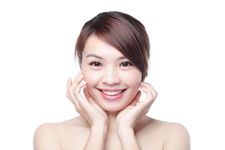 belleza de la mujer se sonríe a usted con fondo blanco, asiático