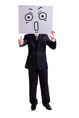 thumbup: businessman holding surprise expression billboard and thumb up with isolated white background Stock Photo