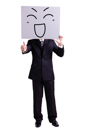 thumbup: businessman holding happy expression billboard and thumb up with isolated white background