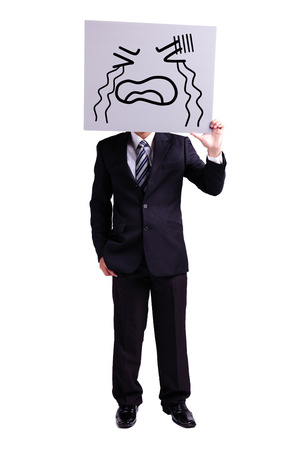 miserable: businessman holding crying expression billboard with isolated white background