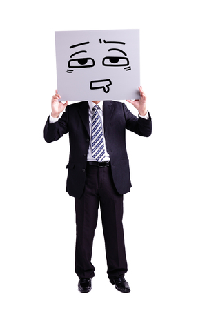 difficult decision: businessman holding confused expression billboard with isolated white background Stock Photo