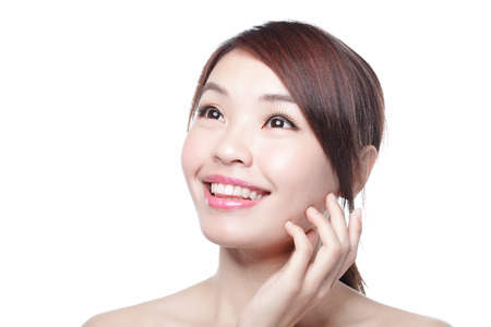 chinese lady: beauty woman look some where with isolated white background, asian Stock Photo