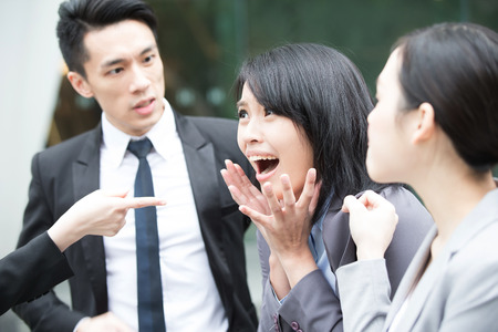 asian group: businesspeople bullying in office, asian