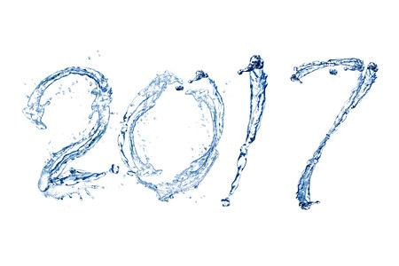 Frohes Neues Jahr 2017 von Pure Spritzer Wasser isoliert auf weißem Hintergrund Standard-Bild - 65012419