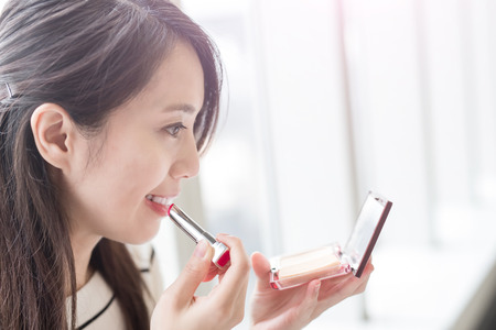 PRETTY WOMEN: beauty woman make up and smile happily in hongkong Stock Photo