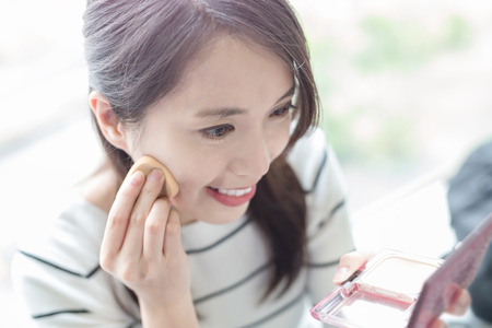 beauty woman make up and smile happily in hongkong Stock Photo