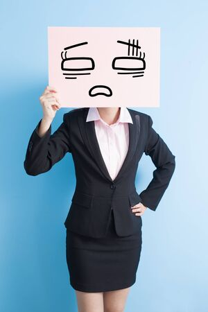 proble: business woman take tired billboard, isolated blue background Stock Photo