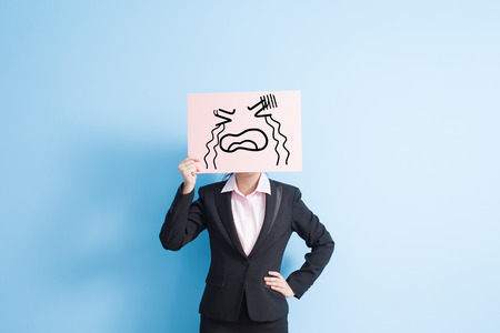 billboard background: business woman take cry billboard, isolated blue background