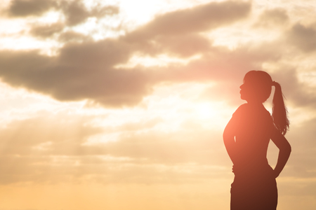 vision loss: silhouette of woman look and think with sunlight