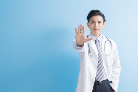 male doctor show stop to you,asian