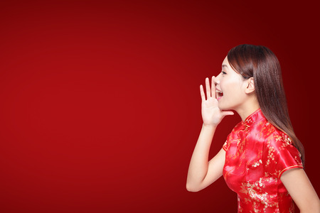 happy Chinese new year. young Asian woman talk to something
