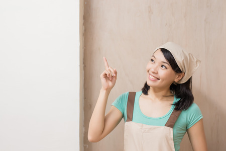 expertise: woman woodworking smile happily and show something ,asian Stock Photo